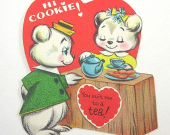 Vintage Valentine Greeting Card with Cute Little White Bears with Tea and Cookies
