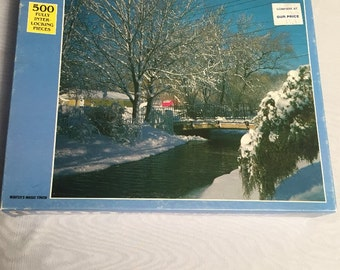 "Vintage jigsaw puzzle ,   ""Winters Magic touch"" , a beautiful snowy scenic puzzle,  realistic"