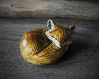 Sleeping fox - Little precious fox unique hand made porcelain ceramic art by Fanny Dallaire