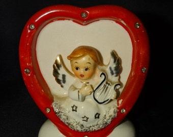 On Sale Vintage 1950s Ceramic Heart Be My Valentine Vase Angel with Harp, Cherub, Angel Wings, Retro Flower Vase