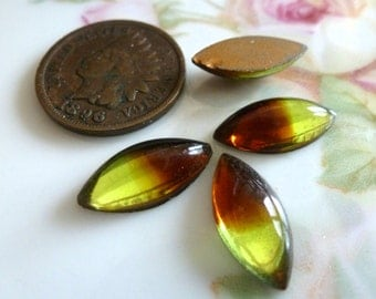 4 Very OLD Givre Lime Green & Brown Smooth Navette 15 x 7mm Glass Cab Cabochon C38