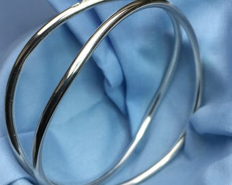 Sterling Silver Double Wave Bangle