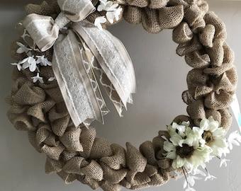 Spring Summer Burlap Wreath, Front Door Wreath, White Lace Burlap, White Sunflowers