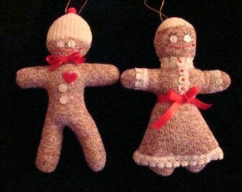 Monkey Sock Gingerbread Man Woman Couple Doll Decoration Ornaments