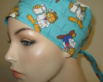 Scrub Cap Garfield Pediatric Print  OR Cap Nurses Cap Surgical Cap Free Ship USA Adjustable Chemo Hat