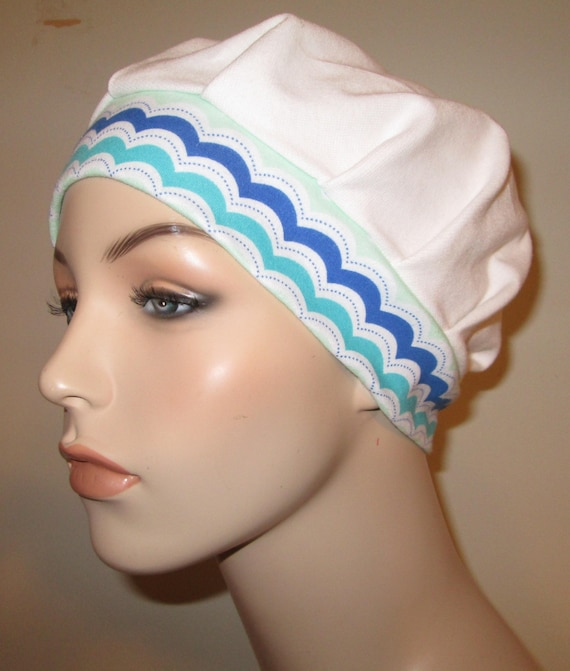 Pleated Knit Chemo Hat, White w Print Band Womens Hat Cancer Beanie