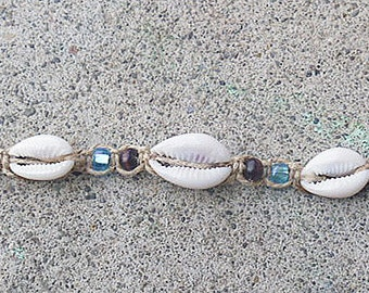 Beach Party Shells Hemp Anklet Bracelet handmade macrame jewelry  womens girls  hippie surfer