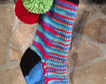 Old Fashioned Hand Knit Heartfelt Christmas Stocking Blue Lime Green Cherry Red Snowflake detail
