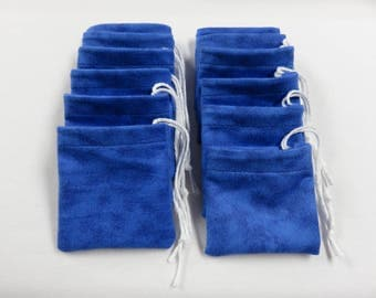 "Set of 12, 3"" x 3"" Blue Flannel Cotton Hoo Doo / Mojo Bags / Jewelry Pouches"