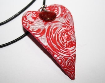 Polymer Clay Embossed Heart Pendant