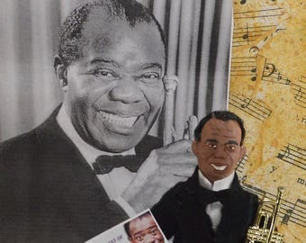 Louis Armstrong Jazz Musician Miniature Sized Doll Scat Singer
