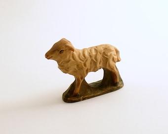 Vintage Wood Lamb Figurine Sheep Figurine Christmas Nativity