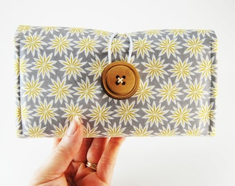 Fabric Checkbook Cover for THREE Checkbooks, Checkbook Holder, Multiple Checkbooks, gray and yellow