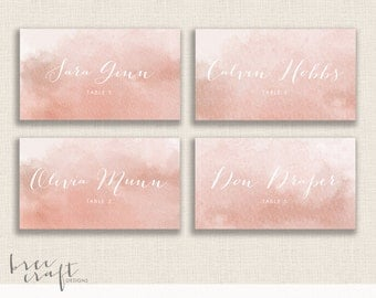 """WATERCOLOR - Custom Calligraphy Place Cards - Personalized Wedding - Name Place Cards  - 3.5""""x2"""" - DIY Printable - Painted"""
