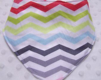 Multi Colored Cheveron Stripe Baby Bandana Bib-- Drooler Bib--