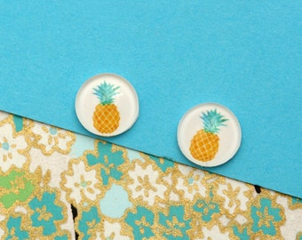 10pcs handmade pineapple round clear glass dome cabochons 12mm (12-0673)