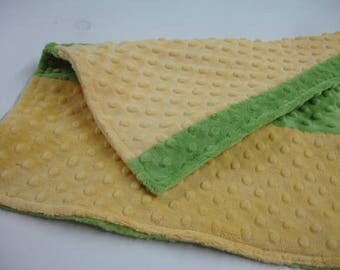 Yellow and Green Double Sided Minky Baby Burp Cloth  15 x 16 READY TO SHIP