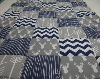 Gray Deer Head and Arrows with Navy Wood Grain and Chevron Minky Blanket You Choose Size and Minky Color MADE TO ORDER No Batting