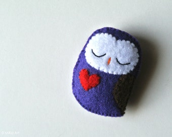 Owl Brooch Owl Felt Brooch Cute Owl Felt Pin Handmade Owl Gift Owl Fashion Accessory Purple Woodland Felt Animal Owl Stuffed Animal Owl Pin