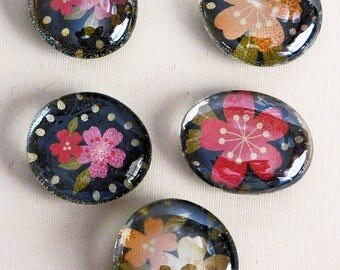 5 Handmade Magnets, Refrigerator Magnets, Fridge Magnets, Decorative Magnets, Glass magnets, Unique Gift, Colorful Magnet, Packaged Set