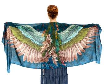 Printed art Scarf, wing Feather Scarf, Black Scarf, Bird Accessories, boho, Alternative Wedding, festival wear