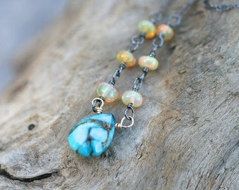 Ethiopian Opal, Mojave Turquoise Pendant, 14KT Gold Filled , Turquoise Gemstone, Oxidized Sterling Silver Jewelry, October Birthstone