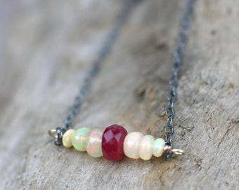 Ethiopian Opal, Ruby Gemstone Bar, Mixed Metal Necklace, 14KT Gold Filled Necklace, Birthstone Jewelry, October, July Birthstone Necklace
