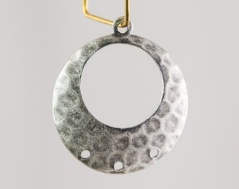 1 Loop w/ 3 Hole Silver Ox Hammered Hoop Pendant (4) mtl100X