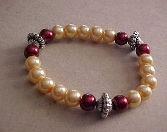 STRETCH Bracelet with Light-PEACH Color Glass Pearls & WINE Colored Contrasting Pearls~Silver-Tone Findings~Smart~Stylish~Chic!