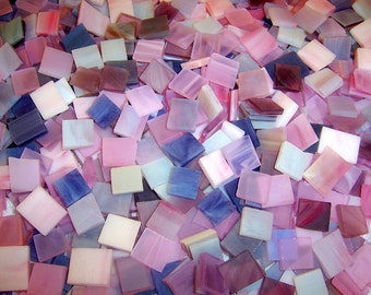 3/8 Inch Shades of Purple Mini Mix Color Tumbled Stained Glass Mosaic Tiles