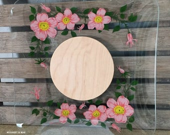 Franciscan Desert Rose Glass Cheese Plate with Board