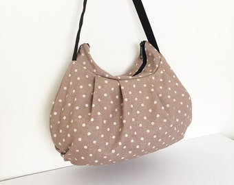 Pleated Bag // Shoulder Purse - Canvas Natural Small Dots in Ash