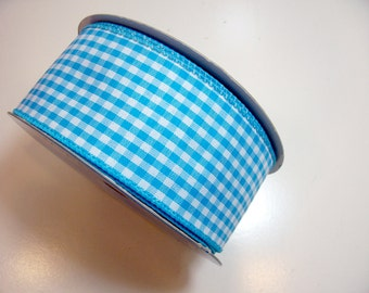 Gingham Ribbon, Turquoise Blue and White Gingham Check Wired Fabric Ribbon 2 1/2 inches wide x 25 yards, Full Bolt of Offray Riley Ribbon