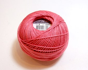 Tatting Thread, Lizbeth Cotton Crochet Thread, Dark Coral Pink, Color number 609, Coral Thread, Choose a Size 3 or 20