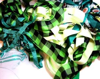 Green Ribbon, Ribbon Grab Bag, Bag of Assorted Green Ribbon and Trim Scraps x 1/2 pound