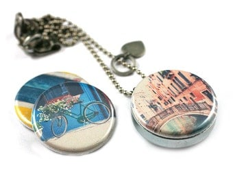VENICE Italy Locket Necklace • Venice Jewelry • Travel Necklace • Italian Travel Gift • Bicycle • Bridge • Burano • 3 in 1 Magnetic Jewelry