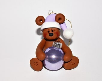 Teddy Bear with Purple Hat and Purple Glass ball Polymer Clay Christmas Ornament