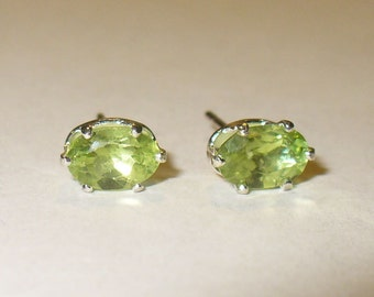 Peridot Stud Earrings in Solid Sterling Silver Settings - Genuine, Natural Gemstones