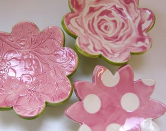 pretty pink pottery Dish Set :) 3 ceramic serving flowers, whimsical hostess gift, candleholders, polka-dots, ring dish, soap dish