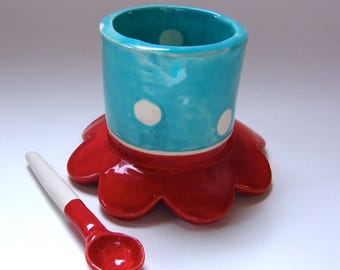 Whimsical Sugar Bowl bright colorful pottery salt dish w/ handmade ceramic spoon bright Red & Turquoise w/ polka-dots