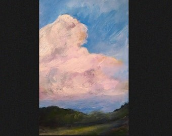 """Oil Painting 4x6"""" Small Format Original  Cloudscape Study You are the sky. Everything else is just weather"""