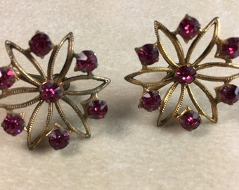 Flower Motif Earrings with Deep Pink Rhinestones Gold Tone Screw Back Vintage