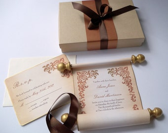 Boxed wedding invitation scroll suite, scroll invitation with damask,  SAMPLE