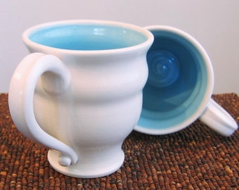 Large Coffee Mugs - Handmade Stoneware Pottery Cups in Lagoon Blue - Set of 2, 16 oz.