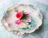 Antique Prussia RS Pink Green Serving Plate - Reinhold Schlegelmilch