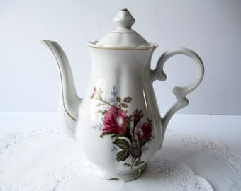 Vintage Moss Rose Coffee Pot - Cottage Chic