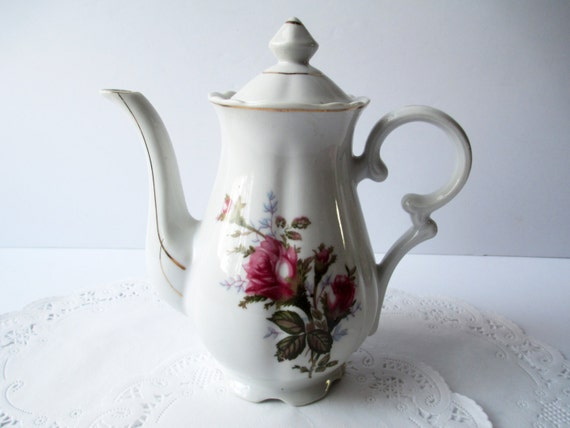 Vintage Moss Rose Coffee Pot Cottage Chic