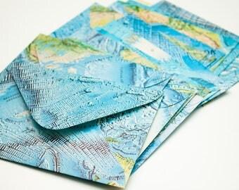 Ocean Floors - Upcycled atlas envelopes - Set of 10 - Size medium