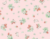 "ON SALE Penny Rose Fabrics ""Bunnies and Cream"" Pink Strawberry"