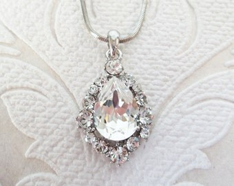 Bridal Necklace with Clear Swarovski Crystal Pendant for Victorian Wedding Jewelry or Rhinestone Bridesmaid Gift for 1920s Prom